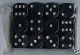 Twelve 6-sided Spot Dice: Black with Silver Spots
